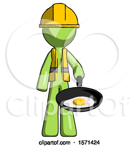 Green Construction Worker Contractor Man Frying Egg in Pan or Wok by Leo Blanchette