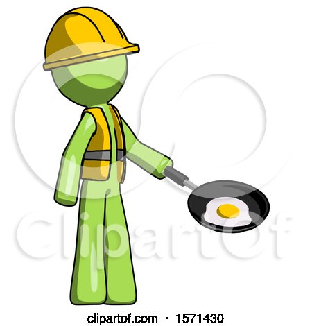 Green Construction Worker Contractor Man Frying Egg in Pan or Wok Facing Right by Leo Blanchette