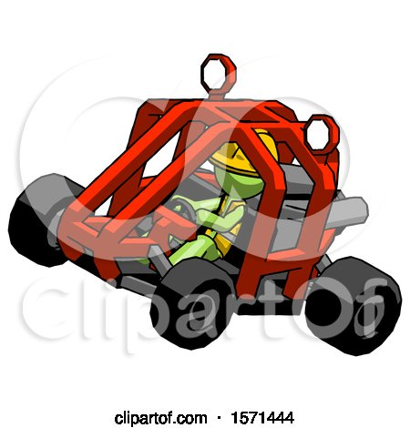 Green Construction Worker Contractor Man Riding Sports Buggy Side Top Angle View by Leo Blanchette