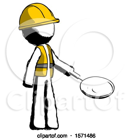 Ink Construction Worker Contractor Man Frying Egg in Pan or Wok Facing Right by Leo Blanchette
