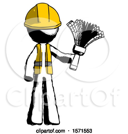 Ink Construction Worker Contractor Man Holding Feather Duster Facing Forward by Leo Blanchette