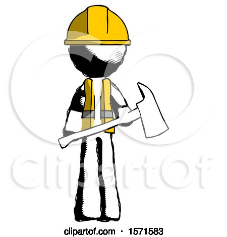 Ink Construction Worker Contractor Man Holding Red Fire Fighter's Ax by Leo Blanchette