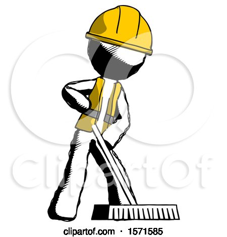 Ink Construction Worker Contractor Man Cleaning Services Janitor Sweeping Floor with Push Broom by Leo Blanchette