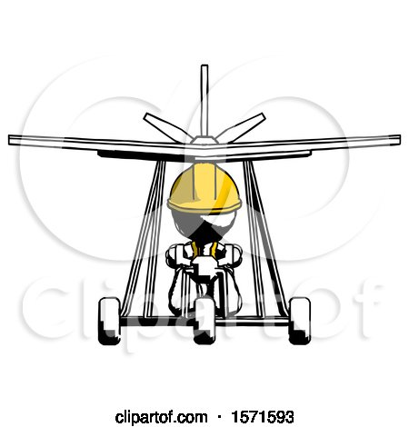 Ink Construction Worker Contractor Man in Ultralight Aircraft Front View by Leo Blanchette