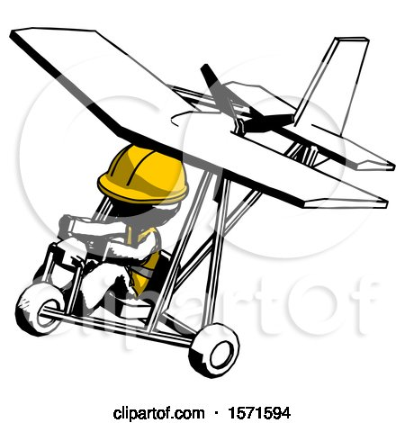 Ink Construction Worker Contractor Man in Ultralight Aircraft Top Side View by Leo Blanchette