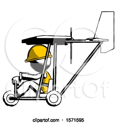Ink Construction Worker Contractor Man in Ultralight Aircraft Side View by Leo Blanchette