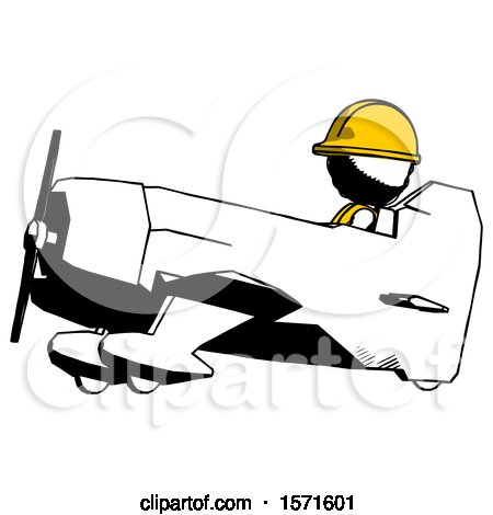 Ink Construction Worker Contractor Man in Geebee Stunt Aircraft Side View by Leo Blanchette