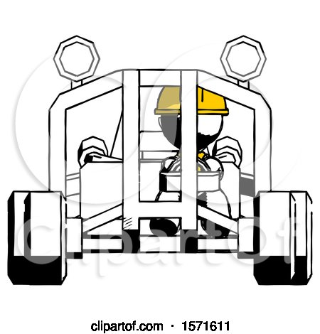 Ink Construction Worker Contractor Man Riding Sports Buggy Front View by Leo Blanchette
