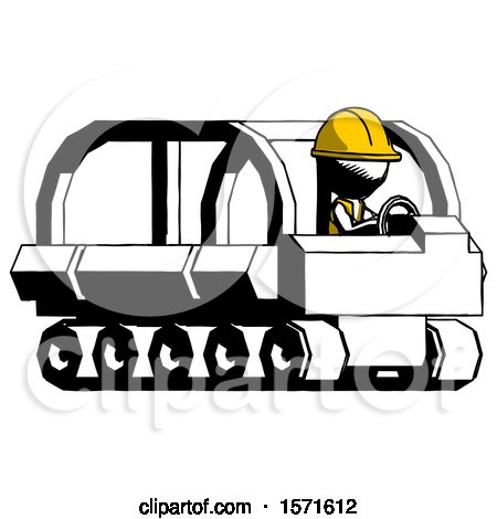 Ink Construction Worker Contractor Man Driving Amphibious Tracked Vehicle Side Angle View by Leo Blanchette