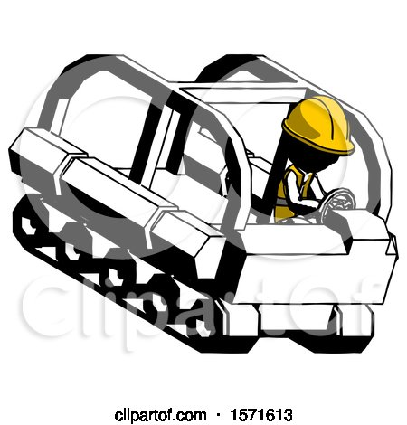 Ink Construction Worker Contractor Man Driving Amphibious Tracked Vehicle Top Angle View by Leo Blanchette