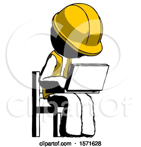Ink Construction Worker Contractor Man Using Laptop Computer While Sitting in Chair Angled Right by Leo Blanchette