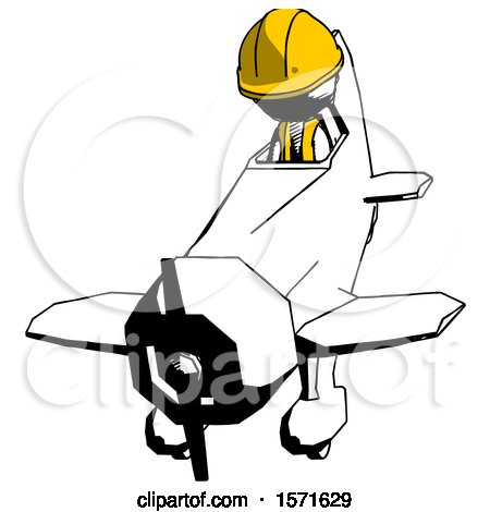 Ink Construction Worker Contractor Man in Geebee Stunt Plane Descending Front Angle View by Leo Blanchette