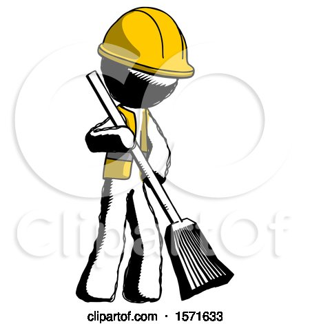 Ink Construction Worker Contractor Man Sweeping Area with Broom by Leo Blanchette