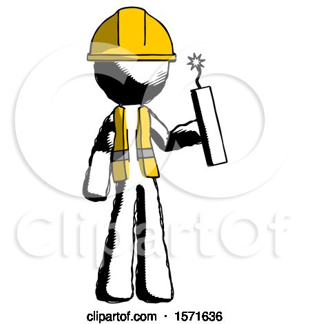 Ink Construction Worker Contractor Man Holding Dynamite with Fuse Lit by Leo Blanchette