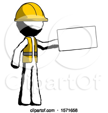 Ink Construction Worker Contractor Man Holding Large Envelope by Leo Blanchette