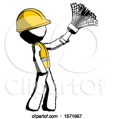 Ink Construction Worker Contractor Man Dusting with Feather Duster Upwards by Leo Blanchette