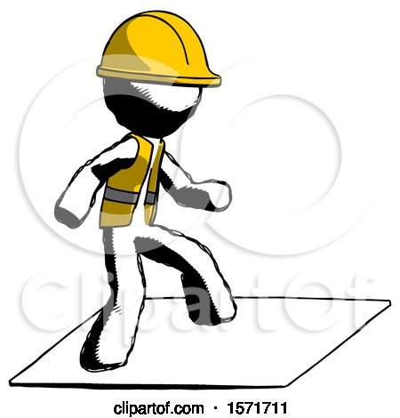 Ink Construction Worker Contractor Man on Postage Envelope Surfing by Leo Blanchette