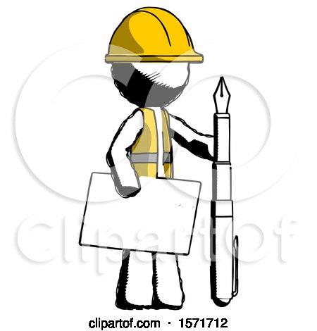 Ink Construction Worker Contractor Man Holding Large Envelope and Calligraphy Pen by Leo Blanchette