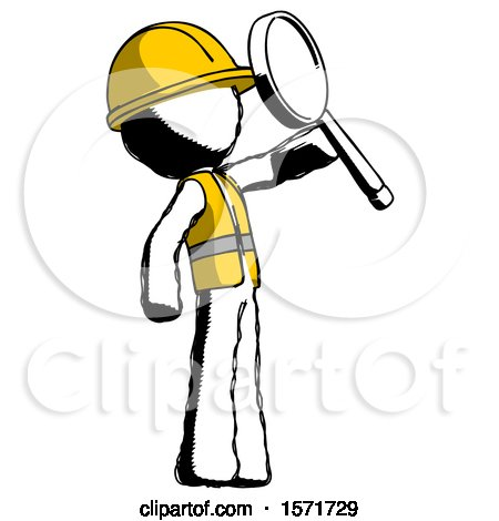 Ink Construction Worker Contractor Man Inspecting with Large Magnifying Glass Facing up by Leo Blanchette