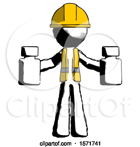 Ink Construction Worker Contractor Man Holding Two Medicine Bottles by Leo Blanchette