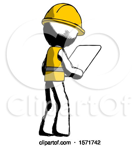 Ink Construction Worker Contractor Man Looking at Tablet Device Computer Facing Away by Leo Blanchette