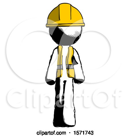 Ink Construction Worker Contractor Man Walking Front View by Leo Blanchette