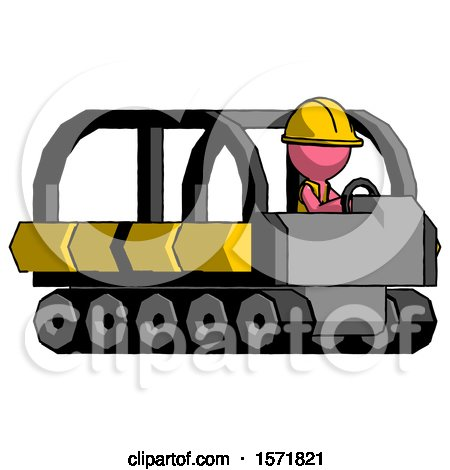 Pink Construction Worker Contractor Man Driving Amphibious Tracked Vehicle Side Angle View by Leo Blanchette