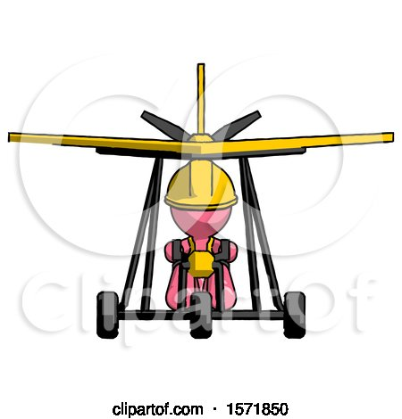 Pink Construction Worker Contractor Man in Ultralight Aircraft Front View by Leo Blanchette