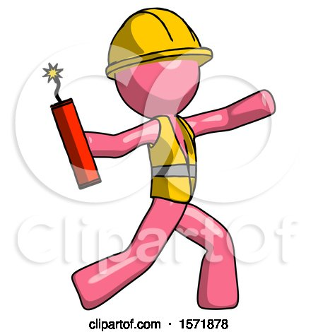 Pink Construction Worker Contractor Man Throwing Dynamite by Leo Blanchette
