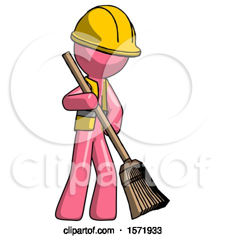 Pink Construction Worker Contractor Man Sweeping Area with Broom by Leo Blanchette