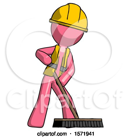 Pink Construction Worker Contractor Man Cleaning Services Janitor Sweeping Floor with Push Broom by Leo Blanchette