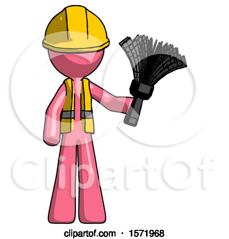 Pink Construction Worker Contractor Man Holding Feather Duster Facing Forward by Leo Blanchette