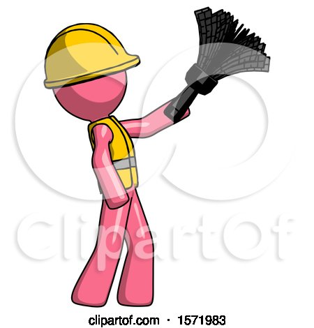 Pink Construction Worker Contractor Man Dusting with Feather Duster Upwards by Leo Blanchette