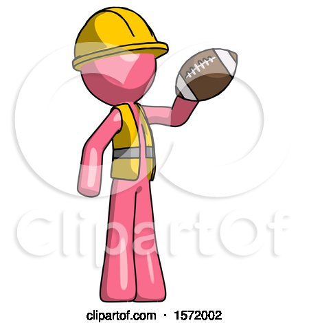Pink Construction Worker Contractor Man Holding Football up by Leo Blanchette