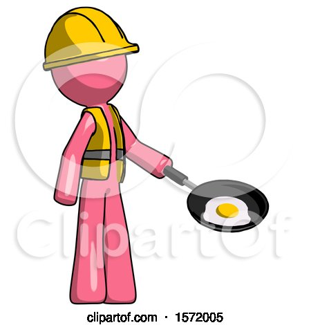 Pink Construction Worker Contractor Man Frying Egg in Pan or Wok Facing Right by Leo Blanchette