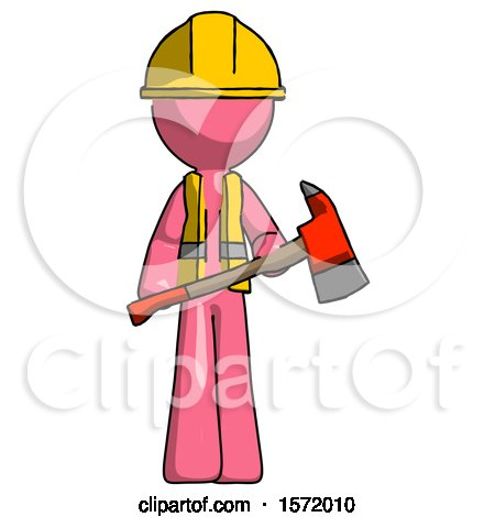Pink Construction Worker Contractor Man Holding Red Fire Fighter's Ax by Leo Blanchette