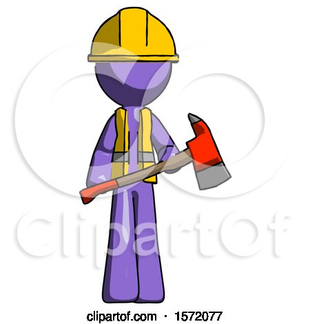 Purple Construction Worker Contractor Man Holding Red Fire Fighter's Ax by Leo Blanchette