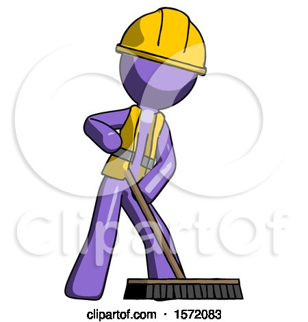 Purple Construction Worker Contractor Man Cleaning Services Janitor Sweeping Floor with Push Broom by Leo Blanchette