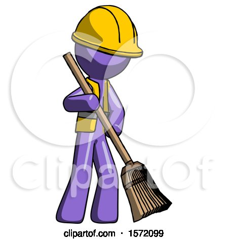 Purple Construction Worker Contractor Man Sweeping Area with Broom by Leo Blanchette