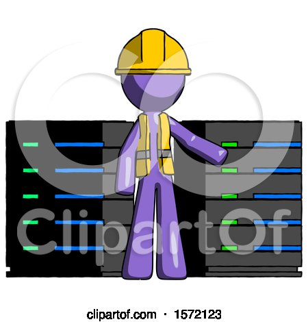Purple Construction Worker Contractor Man with Server Racks, in Front of Two Networked Systems by Leo Blanchette