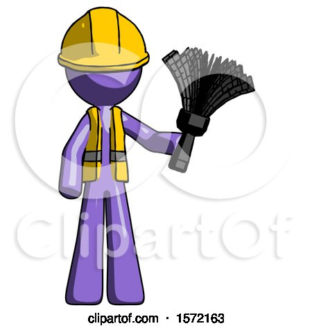 Purple Construction Worker Contractor Man Holding Feather Duster Facing Forward by Leo Blanchette
