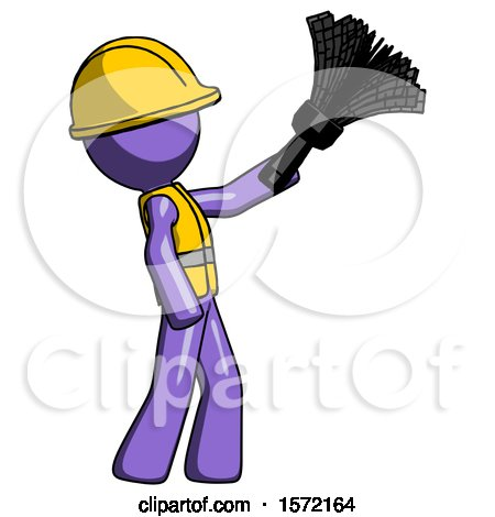 Purple Construction Worker Contractor Man Dusting with Feather Duster Upwards by Leo Blanchette