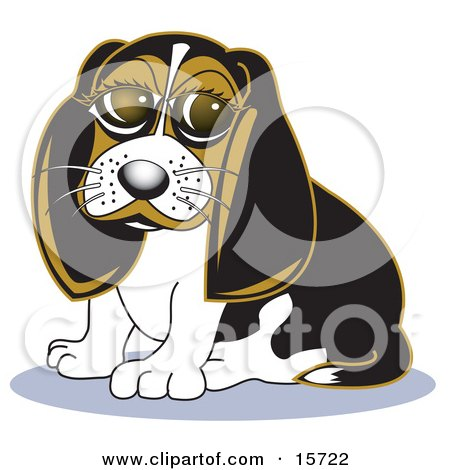 Cute Little Beagle Dog With Big Puppy Eyes Clipart Illustration by