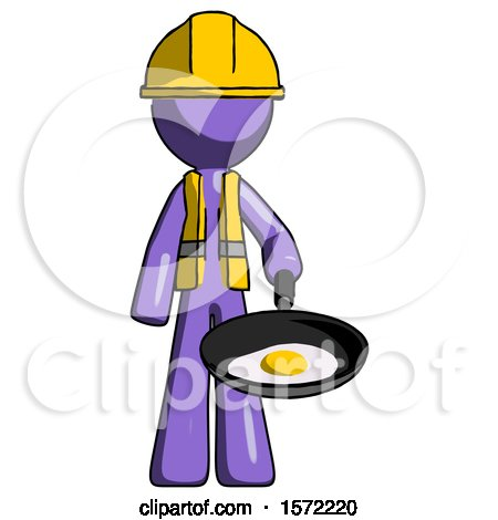 Purple Construction Worker Contractor Man Frying Egg in Pan or Wok by Leo Blanchette