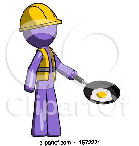 Purple Construction Worker Contractor Man Frying Egg in Pan or Wok Facing Right by Leo Blanchette