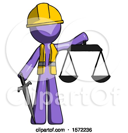 Purple Construction Worker Contractor Man Justice Concept with Scales and Sword, Justicia Derived by Leo Blanchette