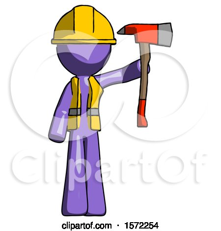 Purple Construction Worker Contractor Man Holding up Red Firefighter's Ax by Leo Blanchette