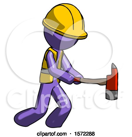 Purple Construction Worker Contractor Man with Ax Hitting, Striking, or Chopping by Leo Blanchette