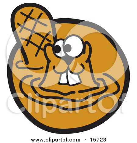 Happy Beaver With Buck Teeth Swimming In Muddy Water Clipart Illustration by Andy Nortnik