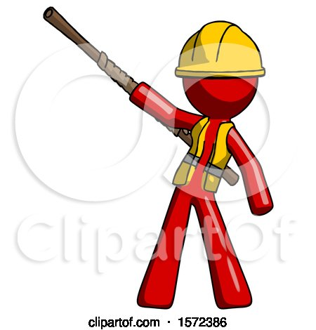 Red Construction Worker Contractor Man Bo Staff Pointing up Pose by Leo Blanchette